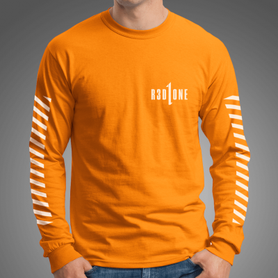 STRIPES Longsleeve Tee /safety orange
